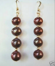 Shell Pearl Earring Charming! 8mm Chocolate