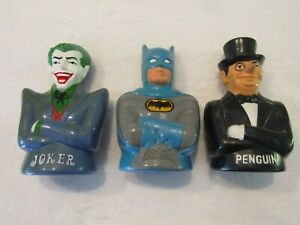 3 Mego 1974 - Vintage BATMAN - JOKER - PENGUIN Plastic Coin Banks - Nice Paint !