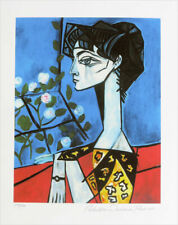 Pablo Picasso Jacqueline Roque With Flowers Giclee Estate Signed 20x13