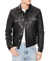 Men's Slim fit Black Trucker Leather Jacket