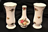 ROYAL ALBERT Old Country Roses ~ SET of 3 VASES ~ 2 Posey Victorian & 1 Montrose