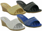 NEW BOXED WOMEN LADIES MID WEDGE SLIP ON MASSAGE SANDALES MULES SUMMER SHOES