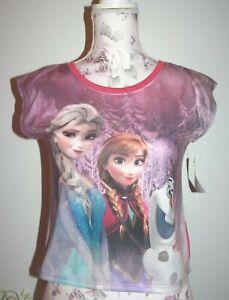 Disney Frozen Anna and Elsa Girls Tank Top Shirt Purple Berry Size L
