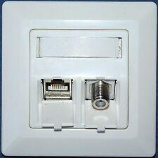Netzwerk-Dose Cat.6a 10 GB 500 MHz und TV Antenne SAT F Keystone Modul (s) UP