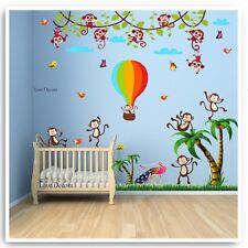 Monkey Wall Stickers Animal Jungle Zoo Balloon Nursery Baby Kids Room Decal Art