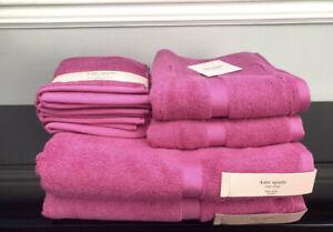 8 Piece Kate Spade Harrington 100% Cotton Bathroom Towel Set Pink Set New