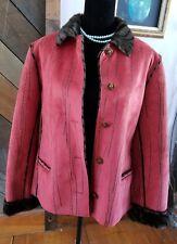 Robert Kitchen Red/ Rust Suede & Faux Fur Steam Print Coat Size XL