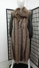 *BRAND NEW NATURAL RACCOON FUR & LEATHER COAT JACKET WOMAN WOMEN SIZE 4-6 SMALL