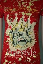 ED Hardy T-Shirt KING dog gold flake sketch RED Medium