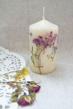 Real Dried Flower Candle Wedding party favor Rustic Fall centerpiece Botanical