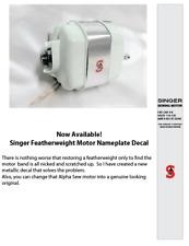 Singer White Featherweight 221K Sewing Machine Motor Nameplate Decal