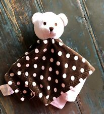 BEANSPROUT Teddy Bear Lovey Baby Security Blanket Polka Dots Brown White Soft GC