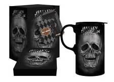 New Ceramic Harley-Davidson Tall Boy Travel Latte Mug, H-D Skull, Gift Box Set