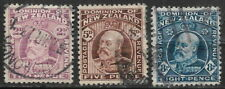 New Zealand, used, #132, #136, and #138, King Edward Vii, Issued 1909-1912