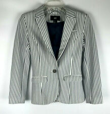 H&M Womens ( Sz 2 US ) White and Navy Blue Strip Career One Button Blazer Jacket