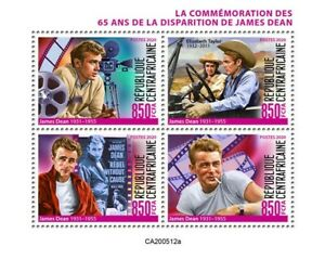 Central African Rep Famous People Stamps 2020 MNH James Dean Celebrities 4v M/S