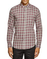 NEW $225 THEORY POMEGRANATE RED ZACH PS  COMBES PLAID BUTTON DOWN SHIRT SIZE L