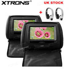 """2pcs 7"""" In Car Headrest DVD Player Screen Pillow Monitor with Case +2 Headphone"""