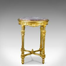 French Lamp Table, Giltwood, Marble, Classical Revival, Occasional, Side C20th