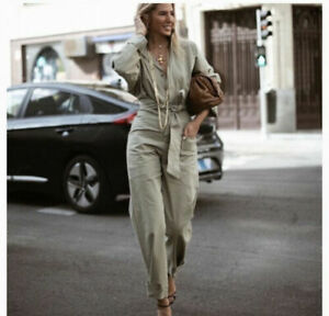 ZARA WOMENS LONG BELTED JUMPSUIT KHAKI GREEN Size M