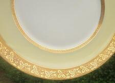5 LANTERNIER LIMOGES DINNER PLATES - GOLD ENCRUSTED LEAVES & GREEK KEY