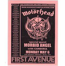 MOTORHEAD & MORBID ANGEL Concert Handbill MINNEAPOLIS 5/6/02 1ST AVENUE Ticket