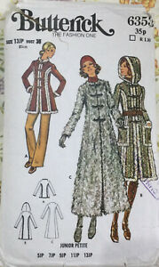 VTG 70s Butterick Sewing Pattern Childs Semi Fitted A-Line Coat Fake fur Age 13