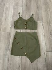 Sexy 2 Piece Army Green Skirt Top Outfit Size Small
