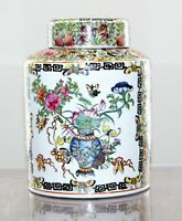 """19 Century Xianfeng Antique Chinese Famille Rose Ginger Jar With Lid - 10"""" High"""