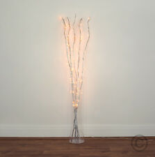 120cm Silver Twigs with 80 White Fairy Lights  Branch Twig Lights Floor Lamp