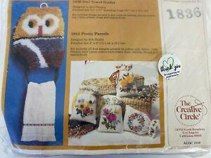 "The Creative Circle Kit #1836 Owl Towel Holder Tan Burgundy Gray 9.5""x 17"" NEW"