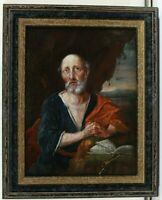 Meister des 18. Jahrhunderts Aposteldarstellung Halbportrait vor Landschaft Öl