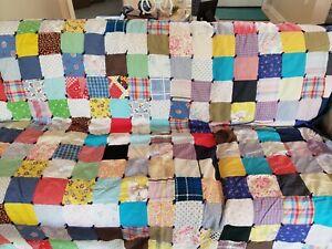 "Vintage Handmade Patchwork Quilt 72"" x 74"""