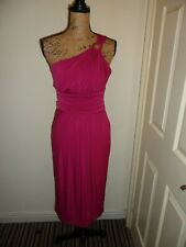 NEXT Ladies One shoulder Dress Dark Pink Stretch Size 14 BNWT