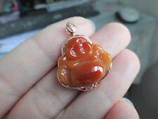 18k Solid Yellow Gold Diamond A Red Jadeite Jade Happy Lucky Buddha Pendant