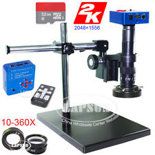 2K & 1080P Video HDMI USB Digital Industrial Microscope Camera + Universal Stand