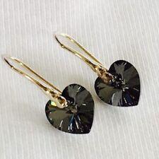 925 Sterling Silver Crystal Heart Earrings Swarovski Elements 14mm Black Gift