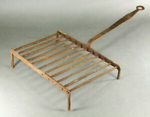 = Antique 1750 -1800 EARLY GRIDIRON Wrought Iron Open Fire Roaster Grill Rack #2