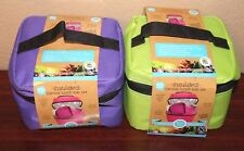 ECO ONE 4 PC INSULATED CANVAS LUNCH BAG KIT TOTE SET BPA FREE GREEN  COLOR NEW