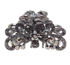 Black Crystal Bronze Metal Alloy flower / butterfly hair claws clips pins
