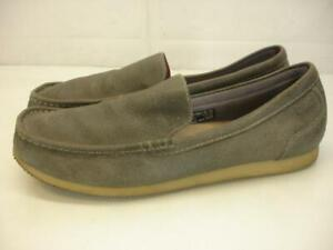 Men's sz 13 M Clarks Allston Free Gray Leather Shoes Loafers Slip-On Moccasins