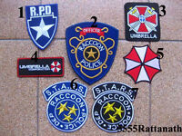 Free shipping 7 PCS RESIDENT EVIL RACCOON POLICE UMBRELLA PATCH BADGE