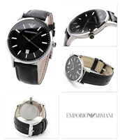 BRAND NEW EMPORIO ARMANI AR2411 CLASSIC BLACK DIAL LEATHER STRAP MENS WATCH UK