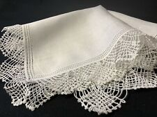 #6378🌟Vintage Wide crochet Lace & Irish Linen Wedding Handkerchief