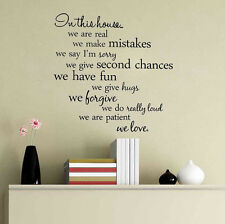 Removable Wall Sticker In This House We Are Real Art Vinyl Home Decor Decal PVC