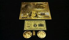 FREE SHIPPING~GOLD$100 banknote Rep.* + COIN/SILVER Bar&Flake~COLLECTIBLE LOT!vs