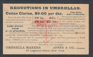 US Sc UX9 1890 Illustrated Advertising Card in blue, Umbrella Maker, NYC