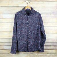 Denim & Flower Men's Stretch Long Sleeve Button Floral Print Shirt L Large Black