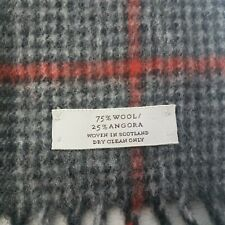 """Mens Angora Wool Blend Scarf 60 x 10"""" Made in Scotland Grey Check Extra Soft"""