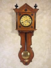 Antique Gebruder Resch Wall Clock Time Only Great Wood Case Early 1870s Runs